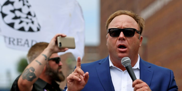 Image: FILE PHOTO: Alex Jones from Infowars.com speaks during a rally in support of Republican presidential candidate Donald Trump near the Republican National Convention in Cleveland