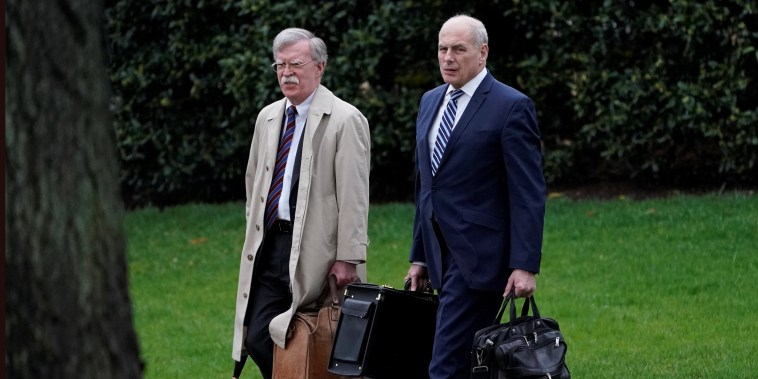Image: White House Chief of Staff John Kelly and new National Security Adviser John Bolton