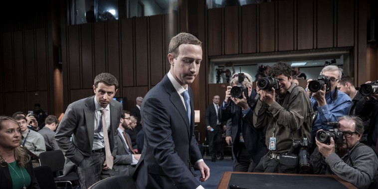 Image: Facebook founder Mark Zuckerberg appears before a Senate hearing