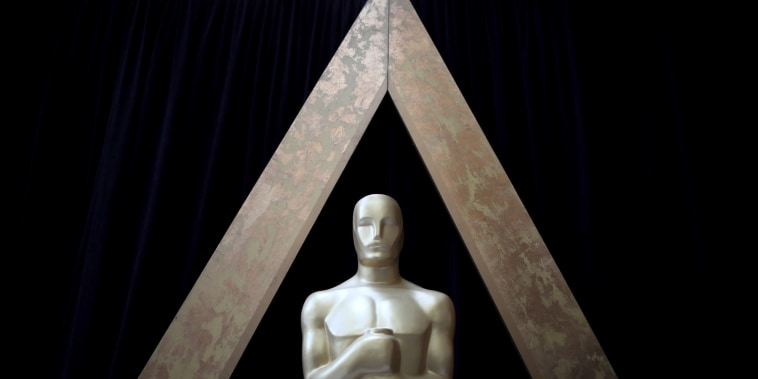 Image: An Oscar statue is seen outside the Dolby Theatre during preparations for the Oscars in Hollywood, Los Angeles, California, on March 3, 2018.