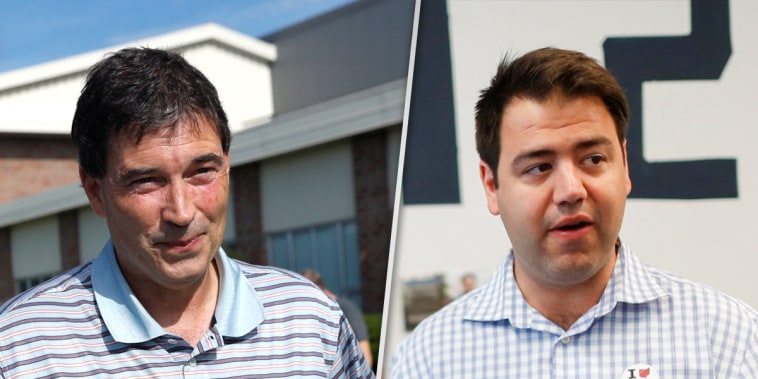 Republican candidate Troy Balderson, left, and Democratic candidate Danny O'Connor, right, in Ohio's 12th congressional district, on Aug. 7, 2018.