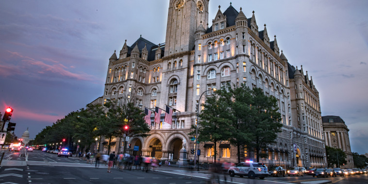 Dusk outside the Trump International Hotel in Washington
