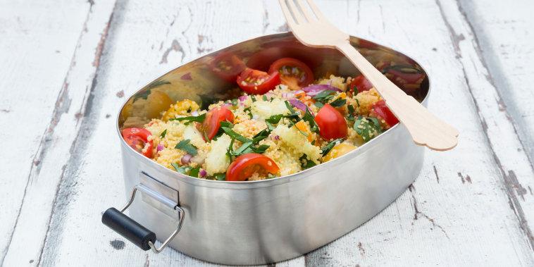 Vegetable Couscous salad in metal box