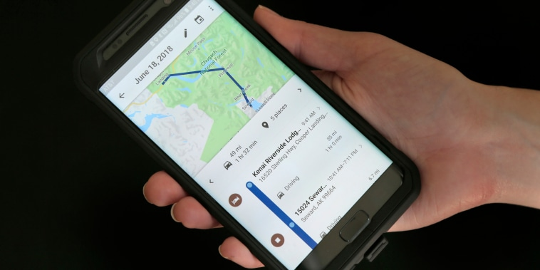 Image: A mobile phone displays a user's travels in New York
