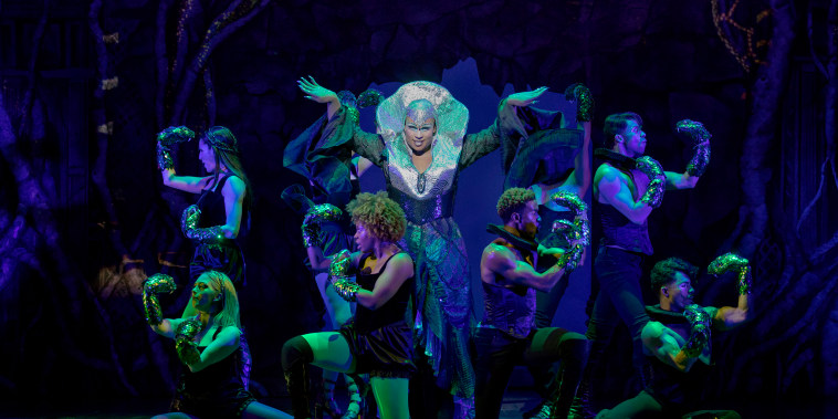 "Image: Peppermint, center, as  Pythio, The  Oracle  of  Delphi,  in the new musical ""Head Over Heals"""