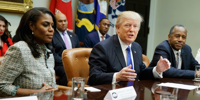 Trump and Manigault Newman in the Roosevelt Room of the White House