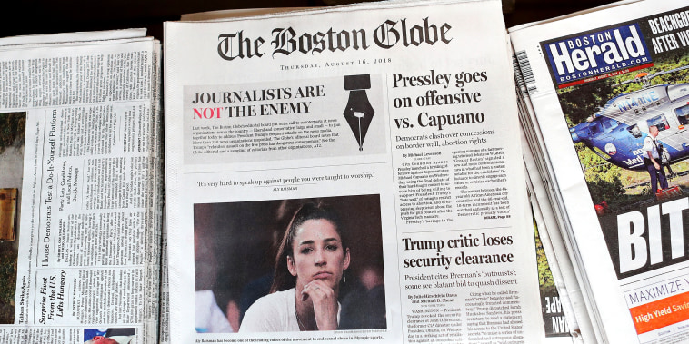 Image: Boston Globe Leads Charge Among Newspapers' Concerted Defense Of Free Press In Wake Of President Trump's Rhetoric Against Press
