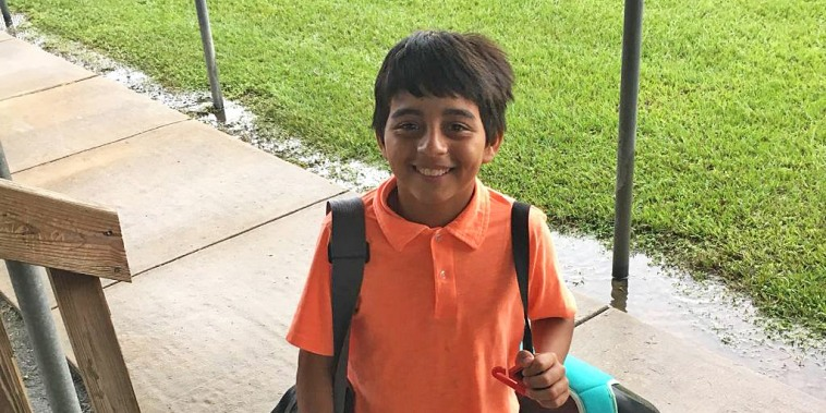 Raquel's youngest son, nine-years-old and autistic, at a government facility in Houston.