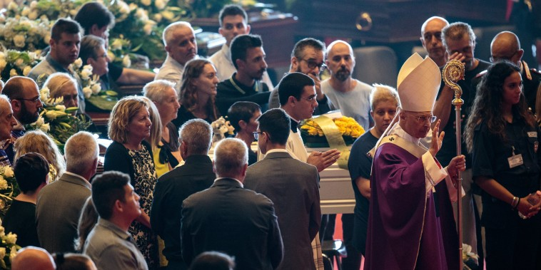 Image: State Funeral Held For 18 Victims Of The Morandi Bridge Collapse In Genoa