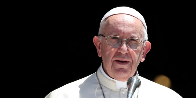 Pope Francis delivers a speech after a meeting with Patriarchs of the churches of the Middle East.