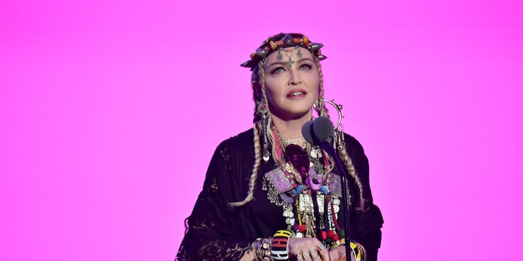 Madonna speaks onstage during the 2018 MTV Video Music Awards