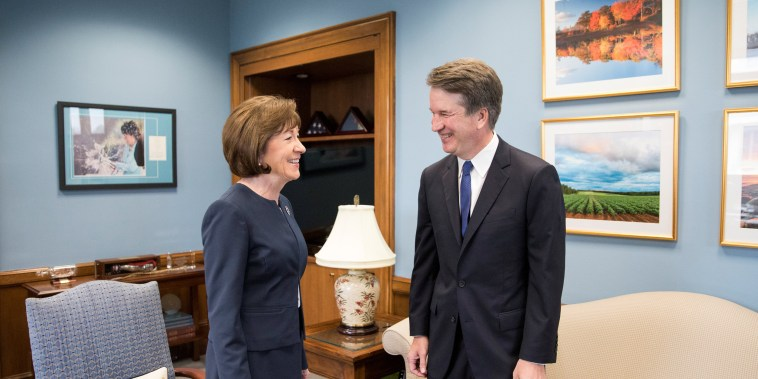 Image: Supreme Court nominee Brett Kavanaugh meets with Sen. Susan Collins on capitol hill in Washington