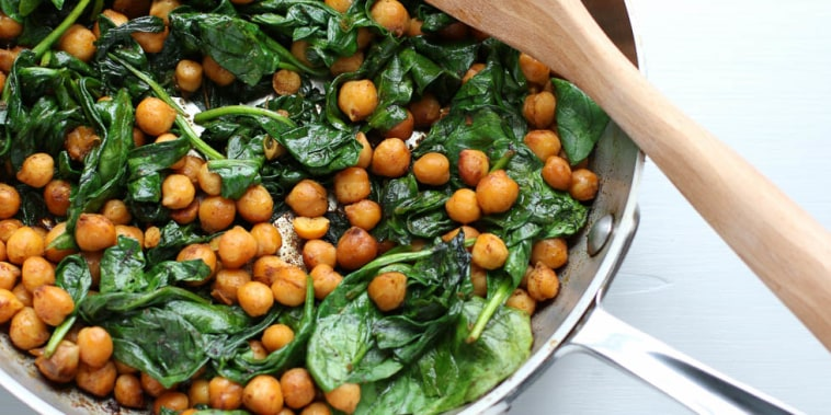 This recipe for Smoky Chickpeas with Spinach delivers a protein and fiber fix in ten minutes flat.