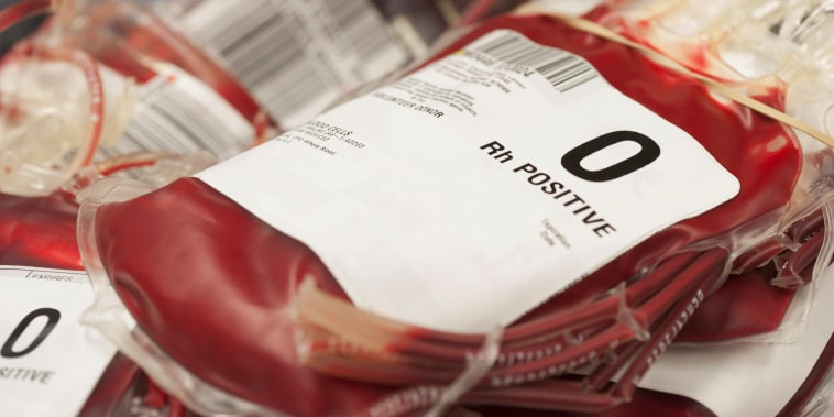Image: Pouches of donated blood
