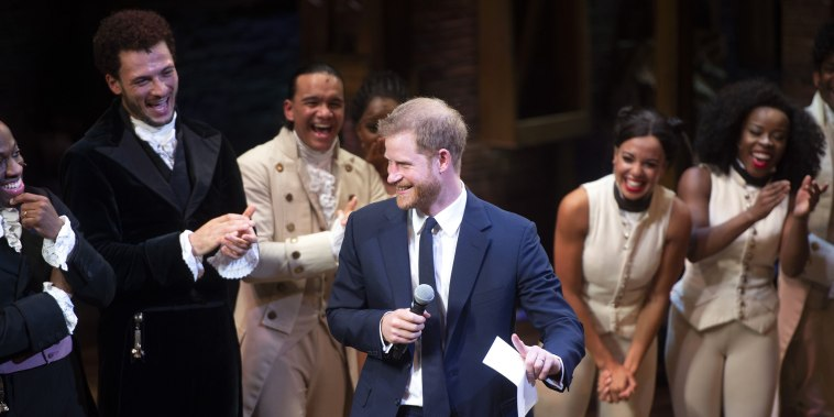 "Image: The Duke & Duchess Of Sussex Attend A Gala Performance Of ""Hamilton"""