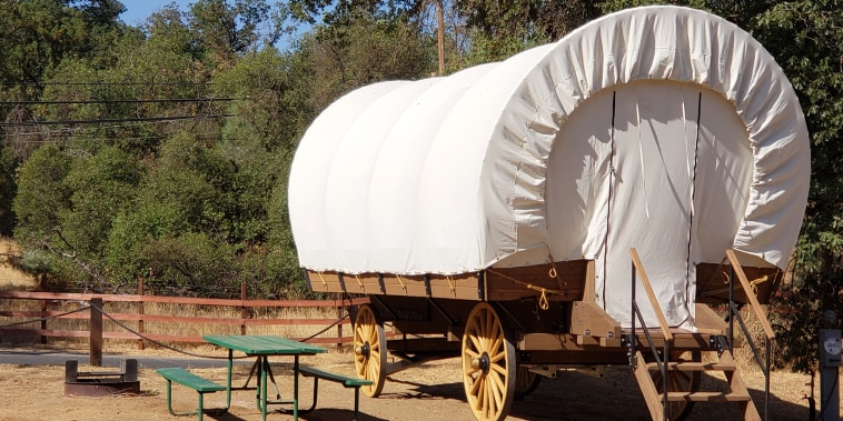 You can stay in a covered wagon on your next vacation.