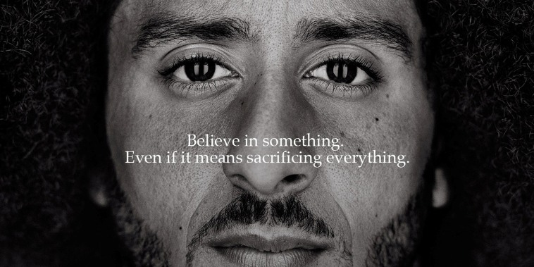 "Image: Colin Kaepernick appears as a face of Nike Inc advertisement marking the 30th anniversary of its ""Just Do It"" slogan"