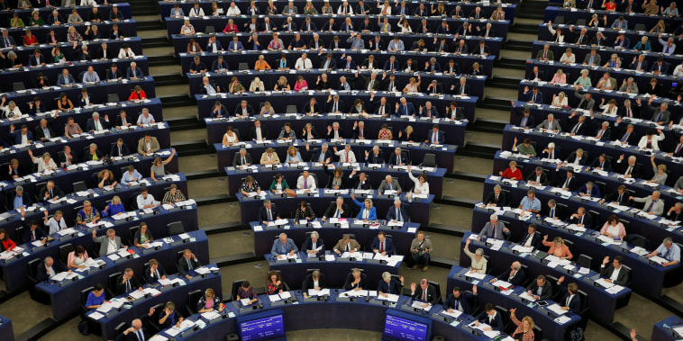 Image: MEPs take part in a voting session at the European Parliament in Strasbourg