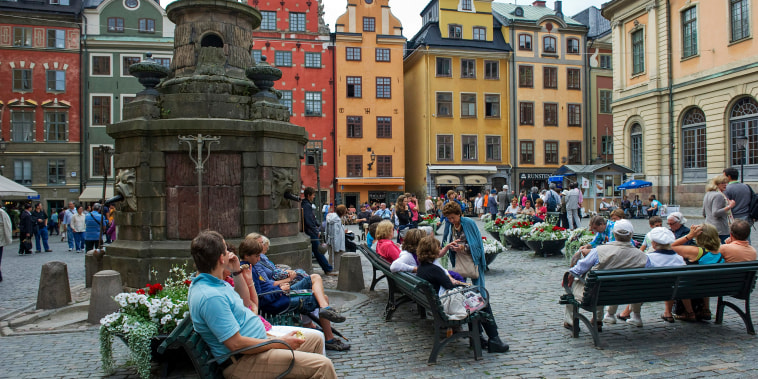 Tourists in Stortorget Square in the Old Town of Stockholm on July 26, 2011.