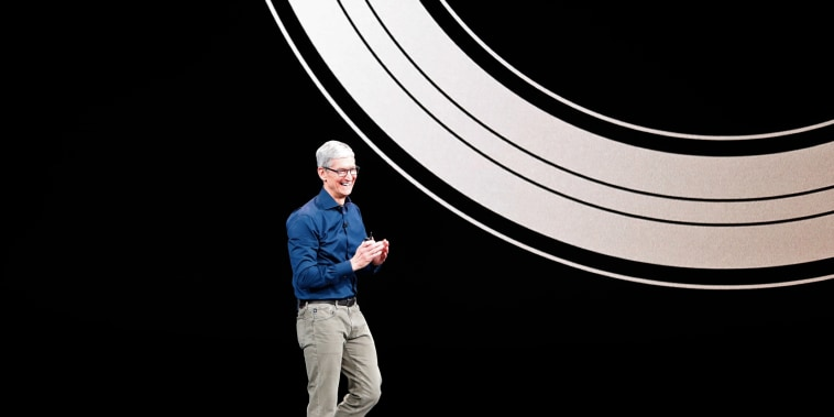 Image: Tim Cook, CEO of Apple, speaks on stage for an Apple Inc product launch in Cupertino
