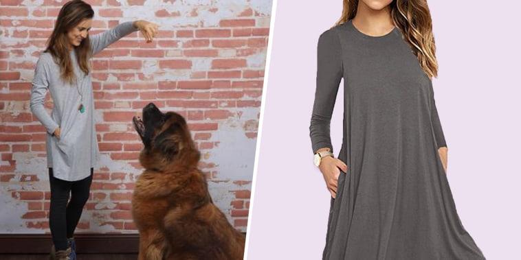 Katie Jackson / Unbranded* Women's Long Sleeve Pocket Casual Loose T-Shirt Dress