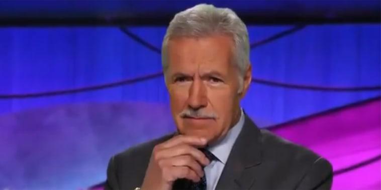 Alex Trebek with a mustache