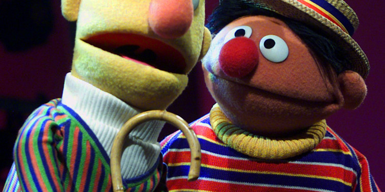 "In this Aug. 22, 2001 file photo, Muppets Bert, left, and Ernie, from the children's program ""Sesame Street,"" are shown in New York."