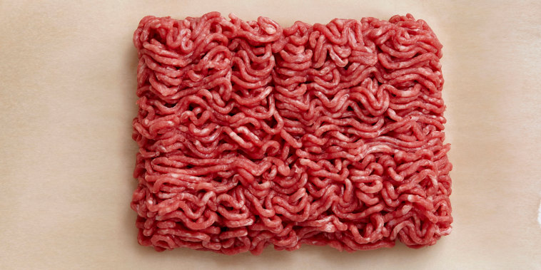 Raw minced beef on wax paper
