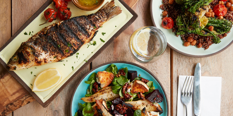 Three Mediterranean and Middle Eastern dishes, overhead view