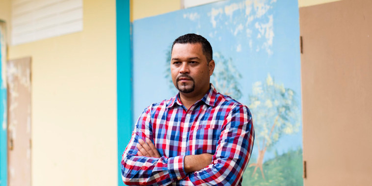 Image: Director Alberto Melendez Castillo, 37, at the S.U. Matrullas Elementary School in Orocovis