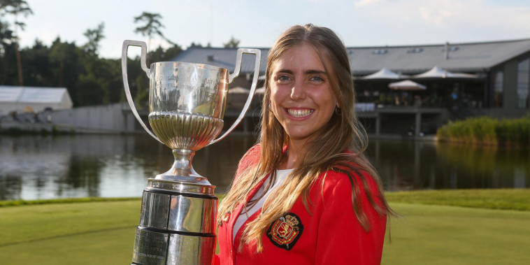 Image: Spanish golfer Celia Barquin Arozamena with the winner's trophy at the European Ladies' Amateur Championship at Penati Golf Resort, Slovakia