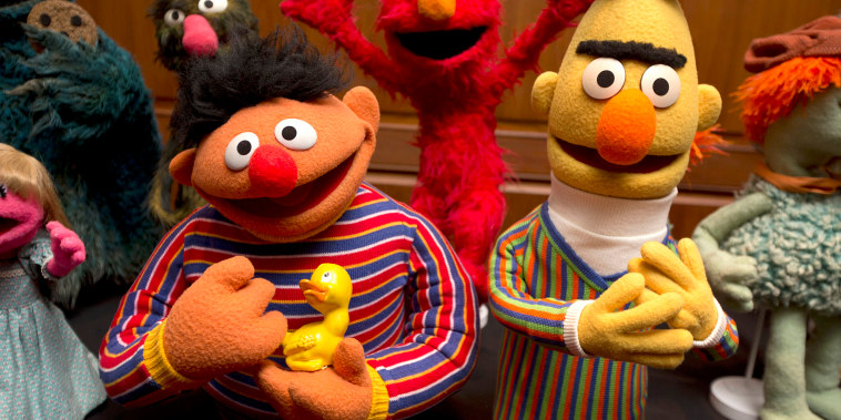 Bert and Ernie, as well as Elmo, center, are among a donation of additional Jim Henson objects to the Smithsonian's National Museum of American History in Washington on Sept. 24, 2013.