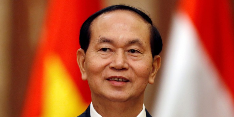 Vietnam's President Tran Dai Quang is seen before a meeting with Hungary's Prime Minister Viktor Orban at the Presidential Palace in Hanoi
