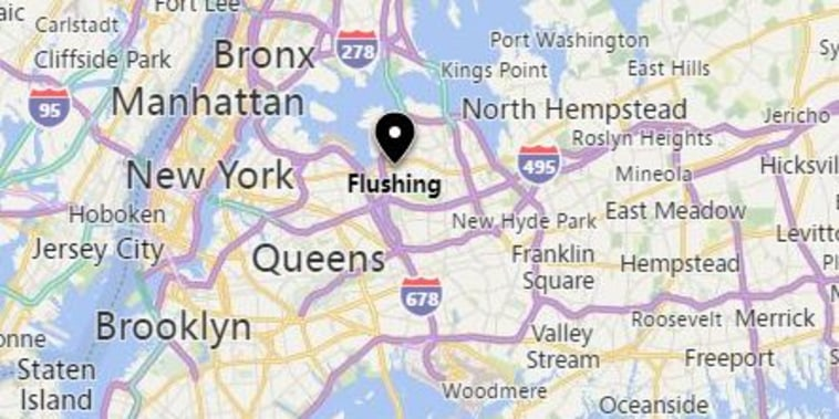Image: A map showing the Flushing area of Queens in New York City.