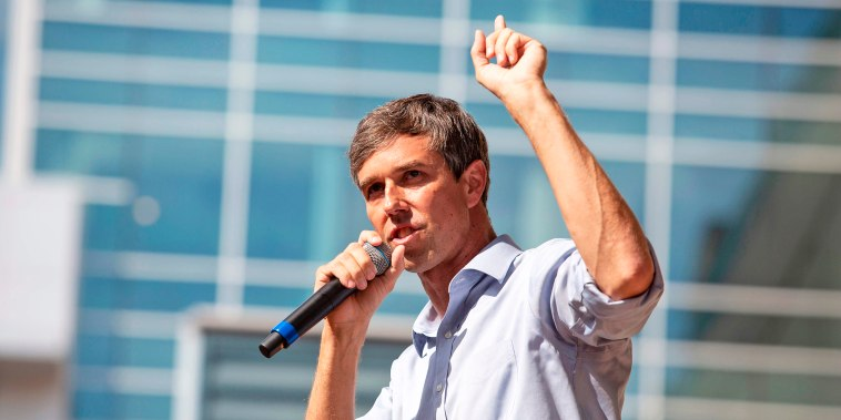 Image: U.S. Representative Beto O'Rourke (D-TX) speaks during a campaign rally in Plano, Texas, on Sept. 15, 2018.