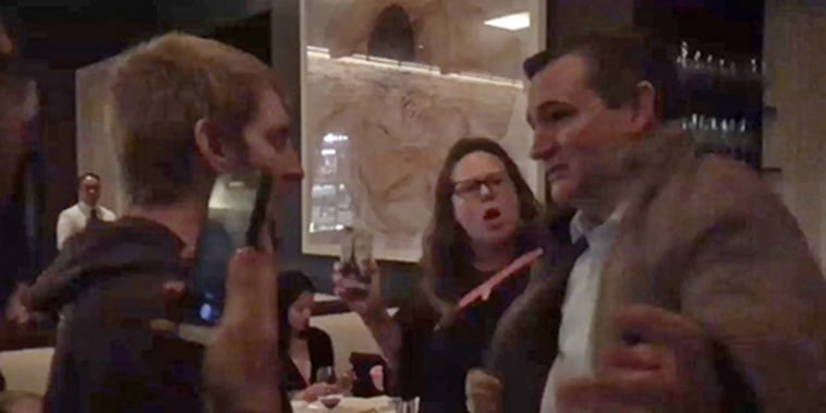 Protesters confront Sen. Ted Cruz in a restaurant in Washington, D.C.