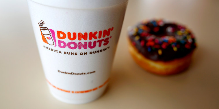 A drink and a doughnut are seen at a Dunkin' Donuts location in the Chicago suburb of Niles