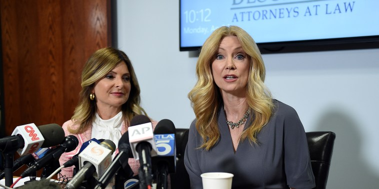 Radio-TV personality Wendy Walsh speaks with reporters alongside her attorney, Lisa Bloom