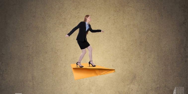 Illustration of a businesswoman on a paper airplane