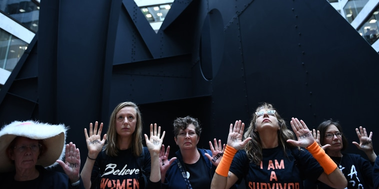 Demonstrators against Brett Kavanaugh protest at the Hart U.S. Senate office building in Washington