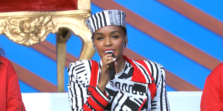 Janelle Monae speaking to victims of sexual abuse at the Global Citizen Festival on Sept. 29, 2018.