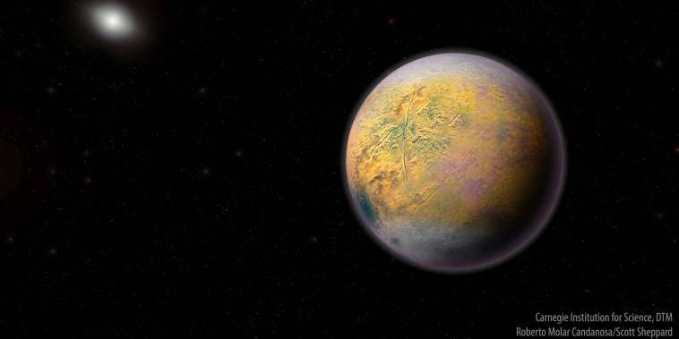 Artist's conception of an as-yet-undiscovered object known as Planet X, which could be shaping the orbits of a newly discovered dwarf planet and similar objects in the outer reaches of the solar system.