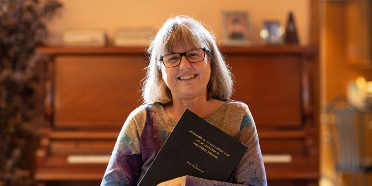 Image: Donna Strickland speaks on the phone after winning the Nobel Prize for Physics