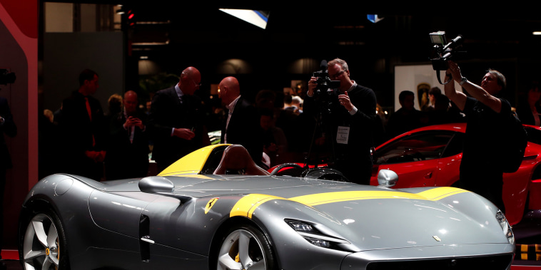 The new Ferrari Monza SP1 is pictured at the Paris auto show