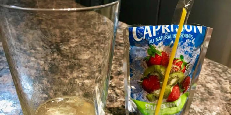 Capri Sun pouch that a dad found to be filled with mold.