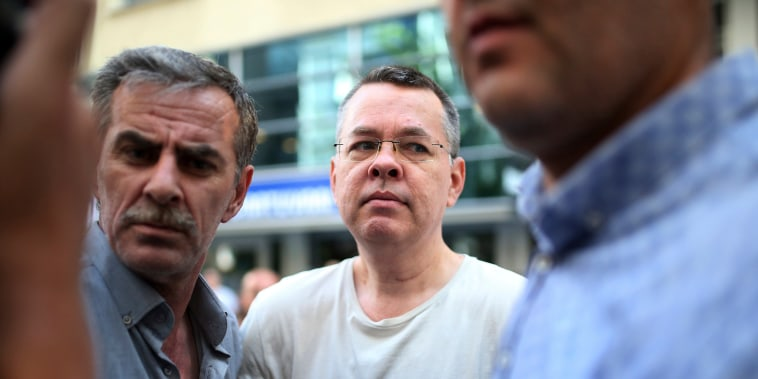 Image: Andrew Craig Brunson, an evangelical pastor from Black Mountain, North Carolina, arrives at his house in Izmir, Turkey on July 25, 2018.