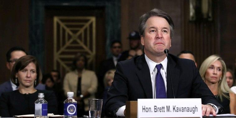 Image: Judge Brett Kavanaugh testifies to the Senate Judiciary Committee during his Supreme Court confirmation hearing