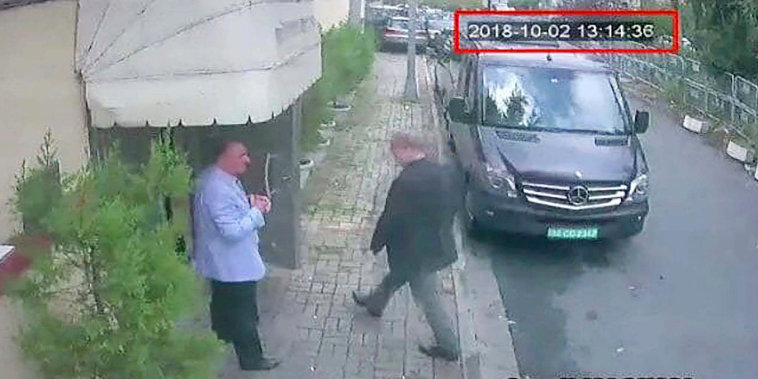Image: This image taken from CCTV video obtained by the Turkish newspaper Hurriyet and made available on Tuesday, Oct. 9, 2018 claims to show Saudi journalist Jamal Khashoggi entering the Saudi consulate in Istanbul