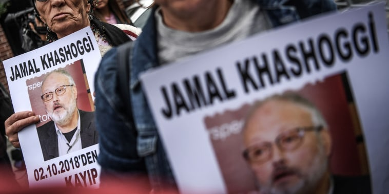 "Protesters holds a portrait of missing journalist and Riyadh critic Jamal Khashoggi reading ""Jamal Khashoggi is missing since October 2"" during a demonstration in front of the Saudi Arabian consulate on Oct. 9, 2018 in Istanbul."