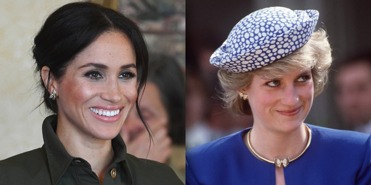 Duchess of Sussex and Princess Diana wearing the same earrings